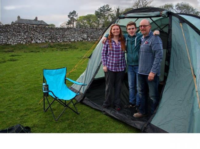 The Simpkin family at the proposed campsite, in Grassington