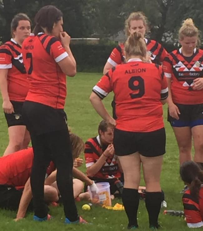 Keighley Albion Ladies recharge the nbatteries during half-time of their 42-22 win over Hull KR