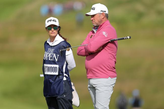 England's Lee Westwood, right, with girlfriend and caddie Helen Storey at the Open
