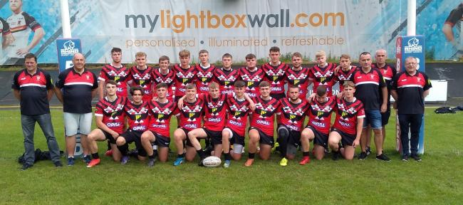 Keighley Albion Under-18s line up before beating Wibsey in the Bradford Cup final held at Odsal