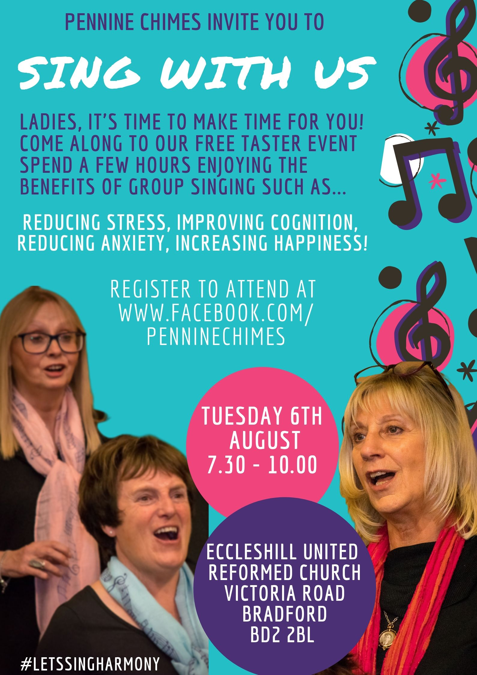 Let's Sing Harmony! Pennine Chimes Taster Session on 6 August at 19:30