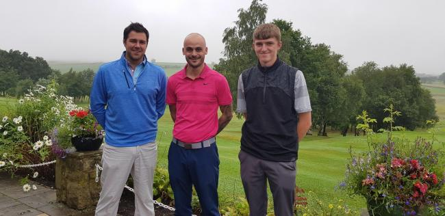 From left, Gavin Stocker, Sean Lemon and Harry Ayrton at Skipton's annual golf day