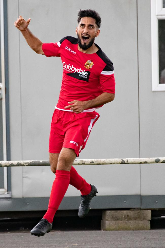 Khurram Shazad was celebrating after scoring Silsden's consolation in their defeat to Newton Aycliffe in the first qualifying round of the FA Vase