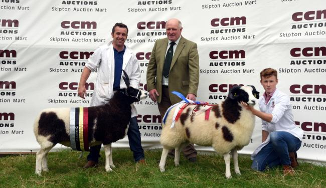 Wyn Harries and the supreme champion aged ewe, show judge Robert Price and Alex Colhoun and the reserve champion ram lamb. Picture Robin Moule