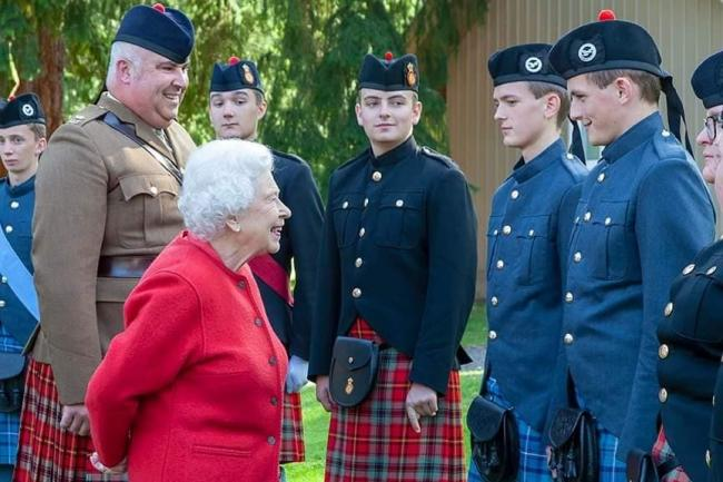 The Queen chats to Skipton twins James and John Brown, at Balmoral.