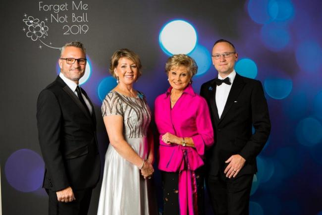 Angela Rippon with Skipton Building Society colleagues who spoke at the fund-raising ball – from the left, Head of Business Development Paul Fenn, Head of Digital Alison Davies and Head of Strategy and Corporate Communications Kris Brewster.