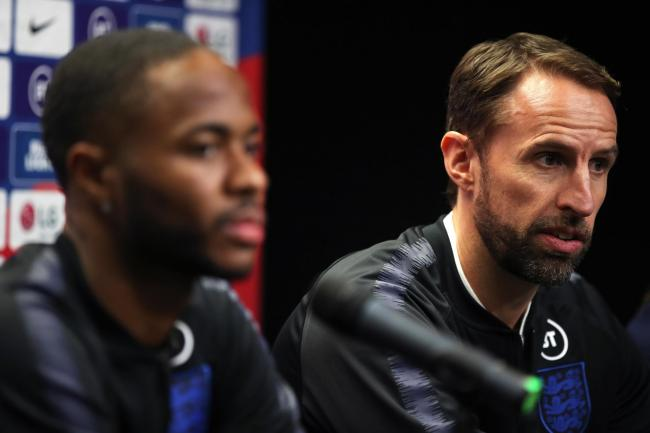 England manager Gareth Southgate and Raheem Sterling
