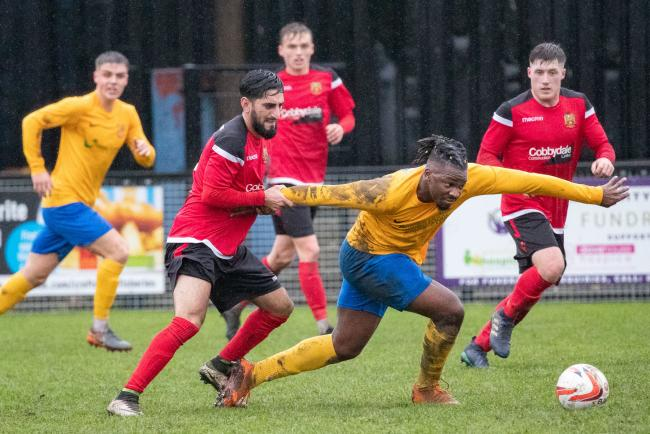 Silsden's Khurram Shazad in a tussle with Albion Sports' Marcel Chigumira in their 3-3 draw in the Toolstation Northern Counties East League Premier Division. Picture: David Brett