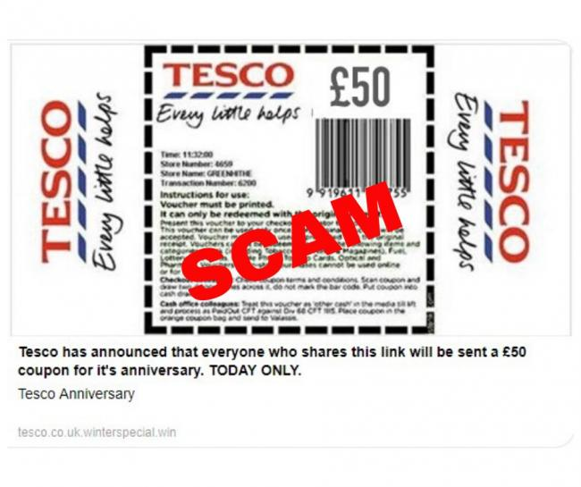 Residents are being warned about the Tesco Facebook scam