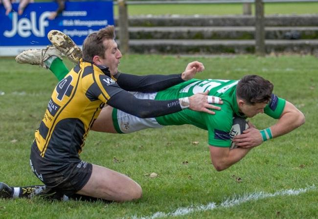 Harry Bullough dives in for a try against Hinckley. Picture: Ro Burridge