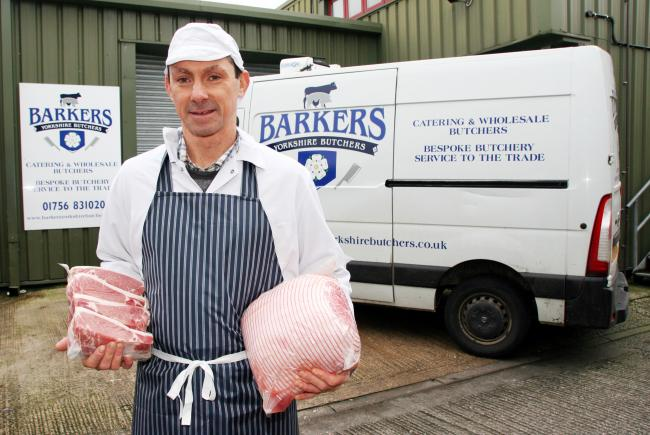 Simon Barker outside the rebranded Barkers Yorkshire Butchers. Picture Moule Media