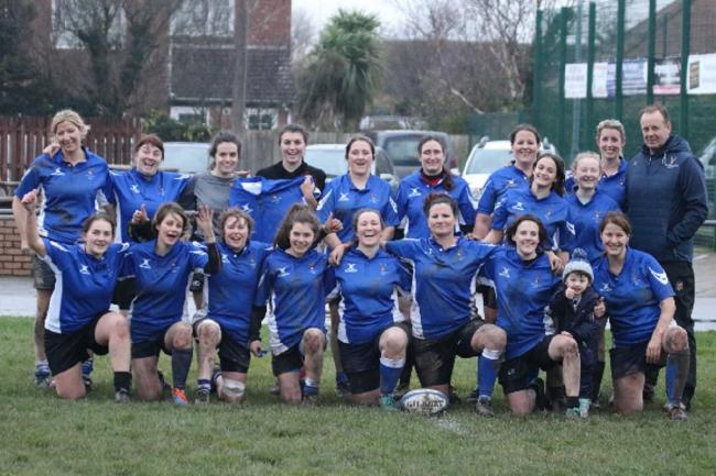 North Ribblesdale Ladies squad line up before their 36-5 victory at Fleetwood Ladies