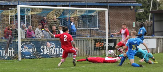 Reece Barrett scored Barnoldswick Town's only goal against Whitchurch Alport. Picture: Peter Naylor