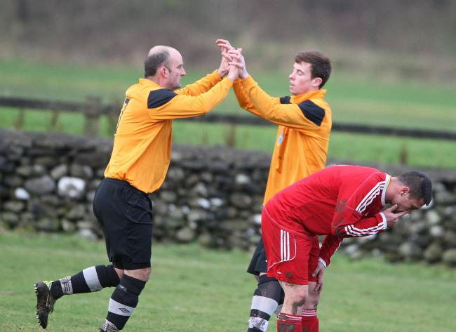 David Worthington, left, was on target for Settle United in their Premier Division Cup win