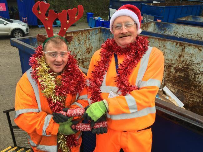 Two Yorwaste workers in Santa outfits to launch the appeal