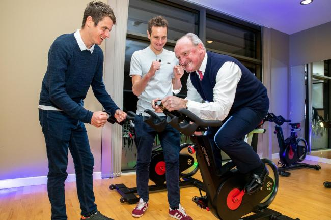 Brothers Alistair, centre, and Jonny Brownlee put Nick Bannister through his paces