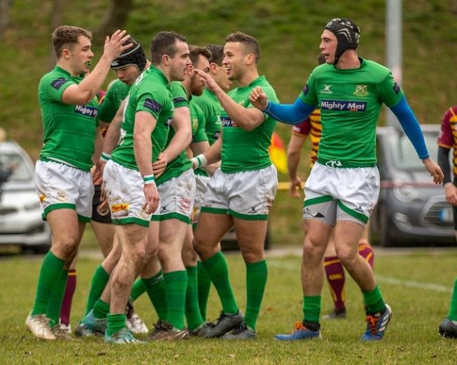 Wharfedale players celebrate a try against the Sheffield Tigers. Picture: Ro Burridge