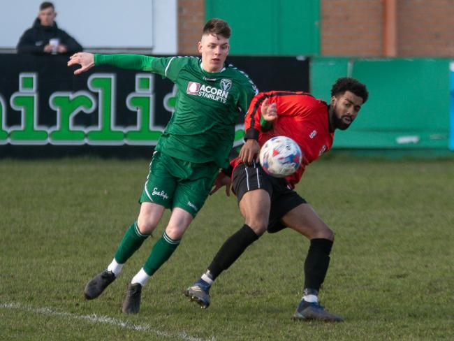 Luke Baldwin (left) scored Steeton's only goal in their thumping 5-1 defeat at AFC Liverpool Picture: John Chapman