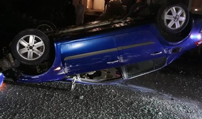 The crashed Renault Megane at Cononley, picture North Yorkshire Police