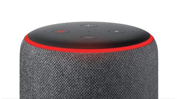 Craven Herald: A red light ring means the Echo's microphones are turned off, and Alexa can't hear your conversations. Credit: Amazon