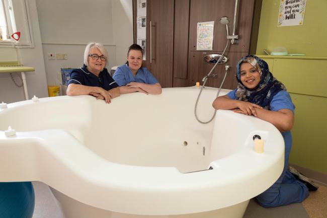 Airedale Hospital midwives and the unit's birthing pool
