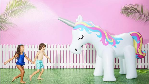 Craven Herald: This unicorn sprinkler looms above kids, but it's a good size for adults, too. Credit: Sun Squad