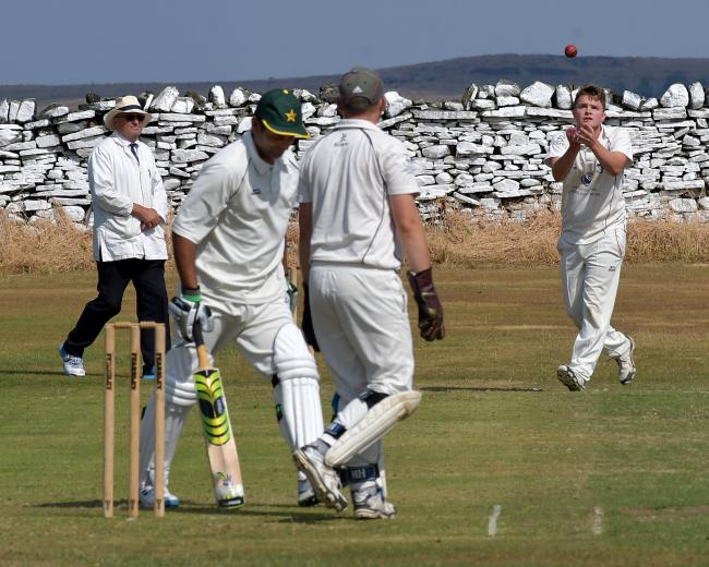 Gargrave skipper Will Smith (right) recorded magnificent figures of 7-27 as his side coasted to victory over Bradley in the now-resumed Craven League Covid Cups Picture: Richard Leach