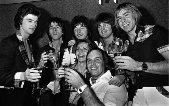 The Bay City Rollers on the road in the early days. The late Ian Mitchell is pictured centre back. Pic PA