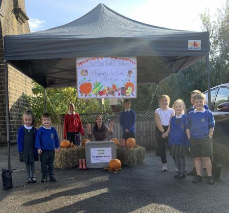 Sutton in Craven School harvest festival and foot bank collection point