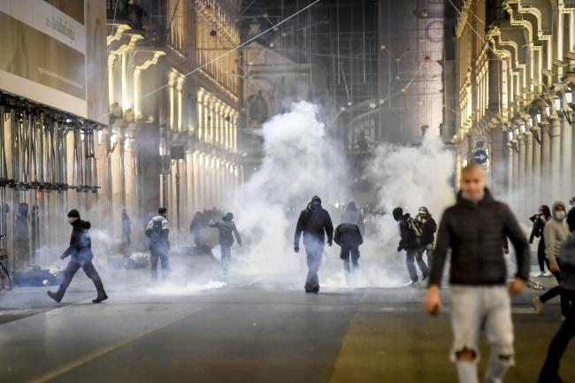 Virus Italy Outbreak Protest