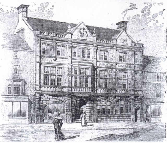 An architect's impression from the early 1900s before Skipton Library was built