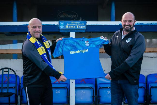 Andy Clarkson (left) wants to bring step four football to Barnoldswick Town in the future. Picture: Karen Clark