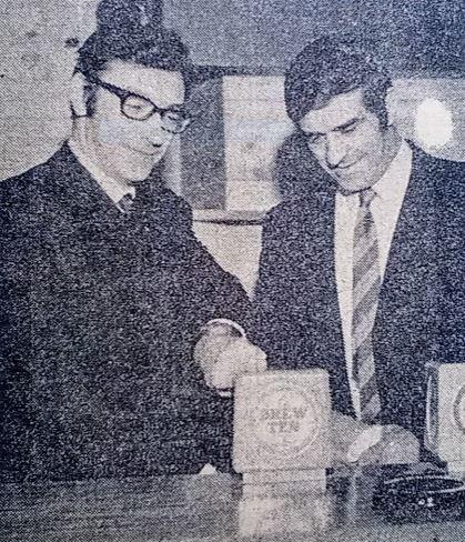 Fred Trueman, right, at the opening of The Yorkshireman in December, 1970