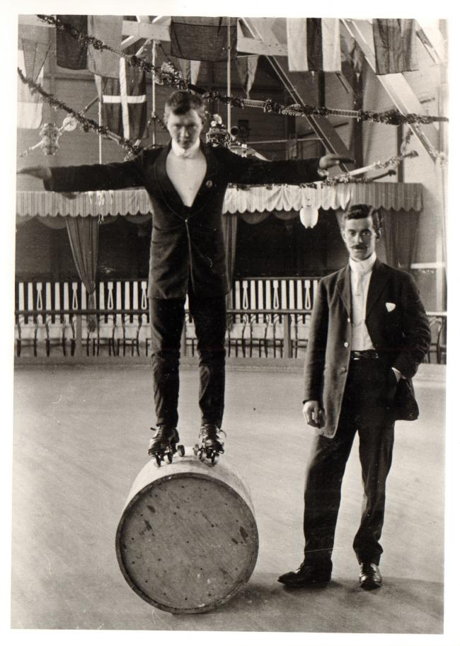 The instructor and door keeper at Skipton Roller Skating Rink. Rowley Collection