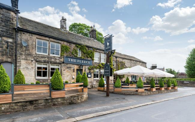 The terrace area outside The Fleece in Addingham where tables can now be booked