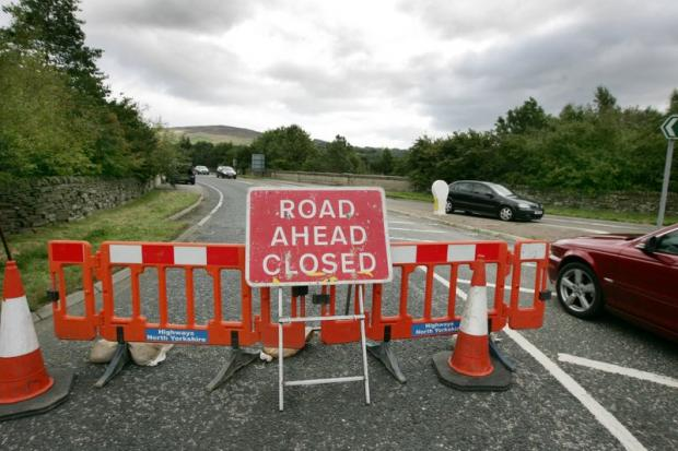 The A59 at Kex Gill, near Blubberhouses, has been closed following a landslide