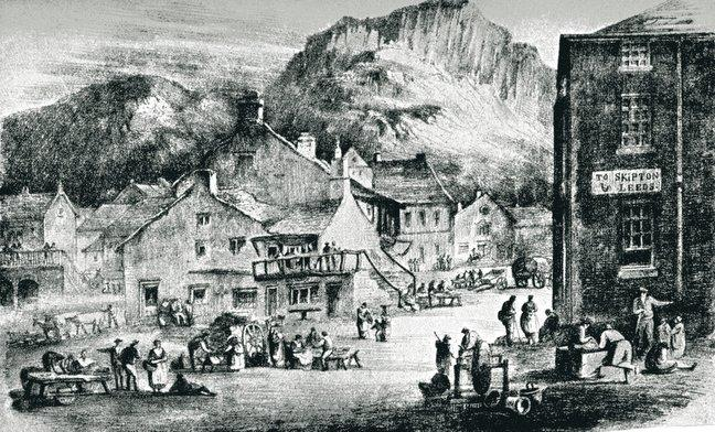 A drawing of Settle market place from years gone by