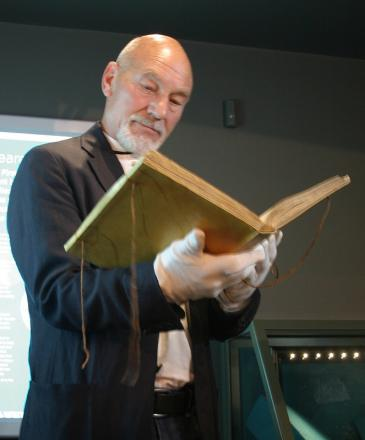 Sir Patrick Stewart with the First Folio at the Craven Museum in Skipton