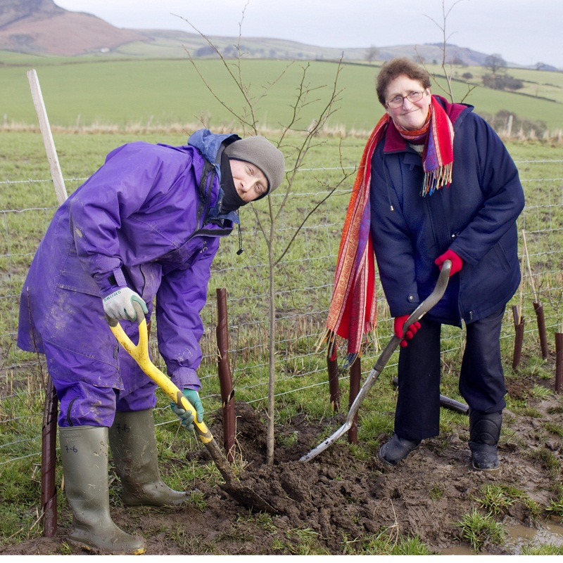 Hilary Fenten, Craven chairman of the Campaign to Protect Rural England, and a Russian refugee plant trees at Tarn Moor, Skipton