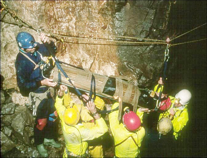 Members of the Cave Rescue Organisation help a caver who fell 23 metres down Slit Pot in Simpson's Hole, Kingsdale. Picture courtesy of the Cave Rescue Organisation