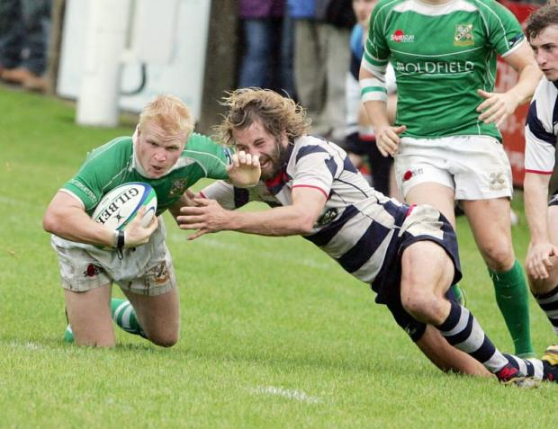 Centre Joel Gill in action for Wharfedale