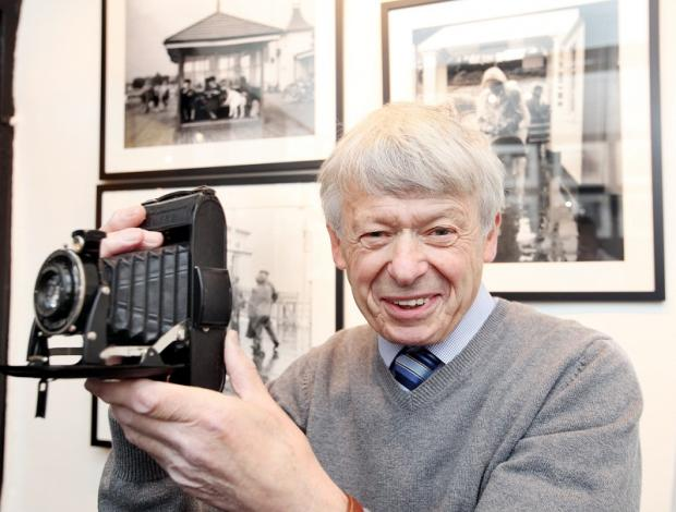 Henry Meyer with the Voigtlander camera which he used back in 1952