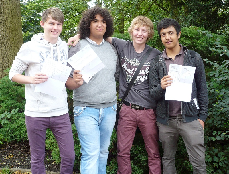 Ermysted's Grammar School pupils, from the left, Matthew Jeeps, Matthew Boxx, George Padgett and Ebrahiem Tumi, who all scored top A-level grades