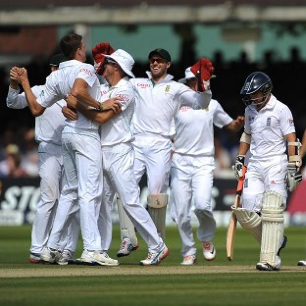 South Africa celebrate the dismissal of James Taylor at Lord's