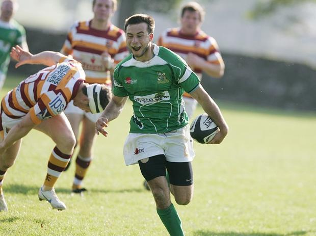 Christian Georgiou shows his delight at scoring a try for Wharfedale