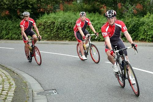 ON THE ROAD: Geoff Thomas, Alex Butler and Andy Smith cycle into Craven