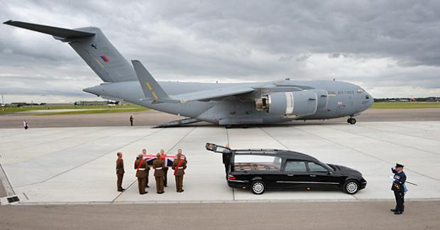Gareth Thursby's body arrives at RAF Brize Norton