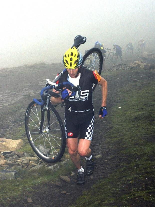 Eight-times winner Andy Peace nears the top of Ingleborough in 2006