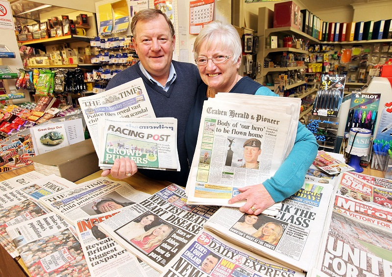 Barnoldswick newsagents Fred and Linda Nutter