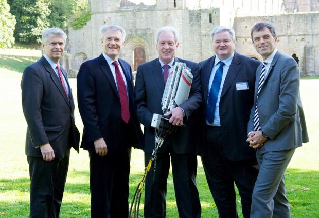 Pictured from left at the broadband conference at  Fountains Abbey are Bill Murphy (BT), Andrew Jones MP, John Moore (NYCC), Mike Galvin (BT) and Julian Smith MP